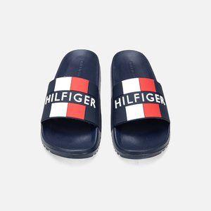 TOMMY HILFIGER Romey Slip-on Embossed Logo Designer Slides/Sandals